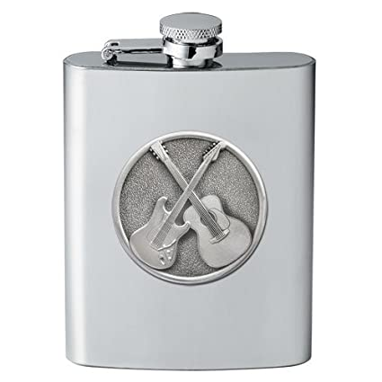 Dual Guitars Stainless Steel 8 oz. Flask