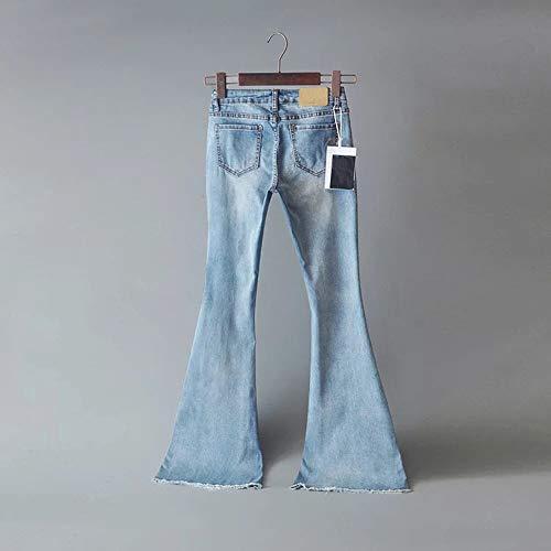 Jeans Chiaro Dragon868 Vita Blu jeans Metà Zampa Caviglia Alla Pantaloni Palazzo Donna OPxPw57rq