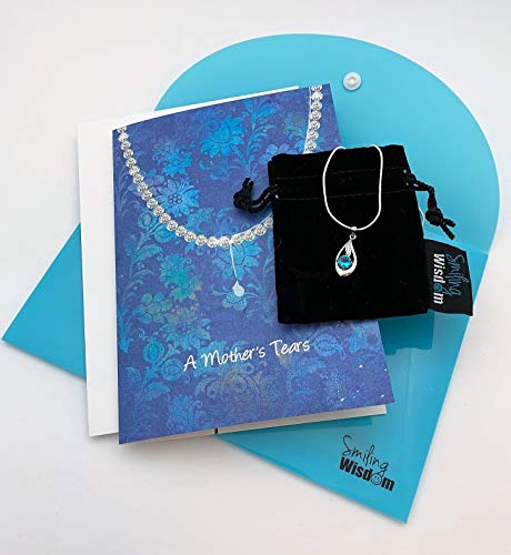 Smiling Wisdom - Mother's Tears Necklace, Heartfelt Gift Set - .925 Silver Plated Tear Pendant - Birthday, Mother's Day - Special Mom From Adult Son or Daughter with Children - Aquamarine Blue - NEW