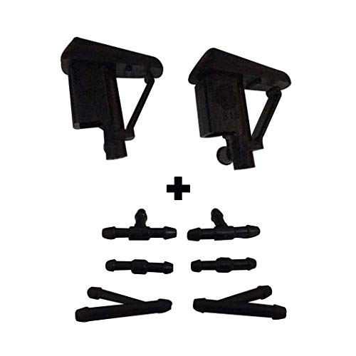 ZHParty 2 Pcs Front Windshield Wiper Washer Jet HOOD NOZZLE Sprayer with 6 Pcs Connector for BMW 05-10 M6,00-06 X5,95-02 Z3,02-16 Z4, 96-04 BMW 3 Series Compact