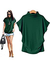 CGKUITER Womens Turtleneck Short Sleeve Comfy Cotton Solid Casual Loose Blouse Tops T Shirt Plus Size Flare Sleeve