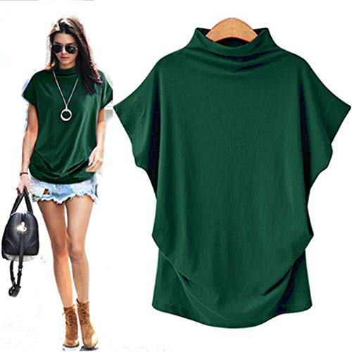 CGKUITER Womens Turtleneck Short Sleeve Comfy Cotton Solid Casual Loose Blouse Tops T Shirt Plus Size Flare Sleeve Green