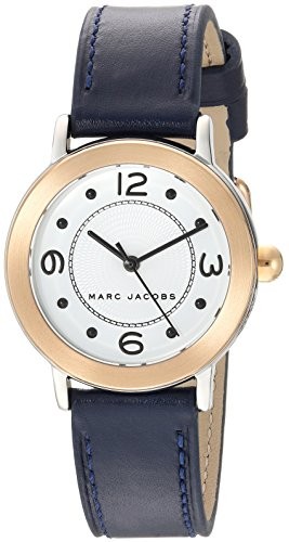 'Riley' Quartz Stainless Steel and Leather Casual Watch, Color:Blue (Model: MJ1604) ()