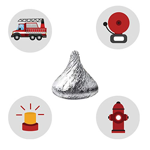 MAGJUCHE Firefighter Candy Stickers, Fire Truck Kids Birthday Party Favor Labels, Fit Hershey's Kisses, 304 Count