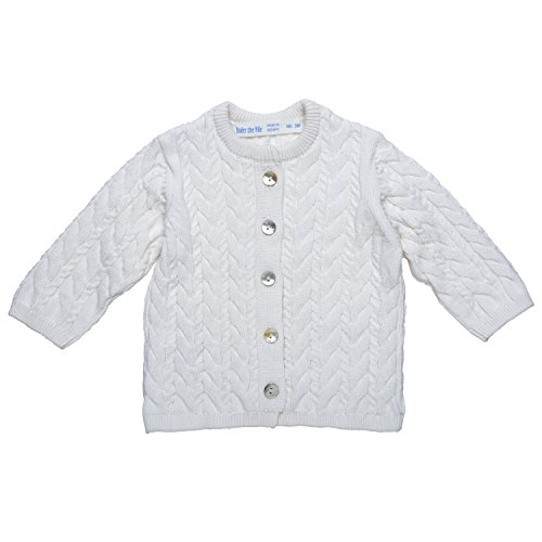 Under the Nile Unisex Baby Knit Cardigan Sweater Size 6-12M Off-White Organic Cotton - Organic Cotton Cable Sweater