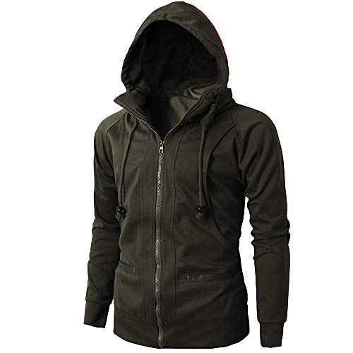Clearance! Mens Casual Hoodie Jackets Double Zipper Closer with Two Tone Color