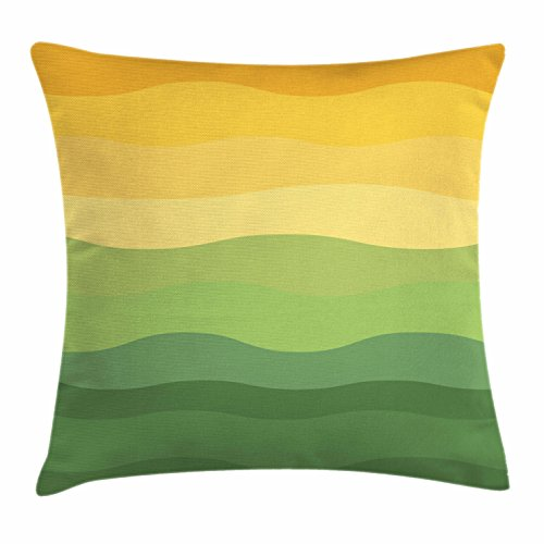 Abstract Throw Pillow Cushion Cover by Ambesonne, Green and Yellow Colored Wavy Lines Curves Earth Inspired, Decorative Square Accent Pillow Case, 18 X 18 Inches, Mustard Amber Ginger Reseda Green