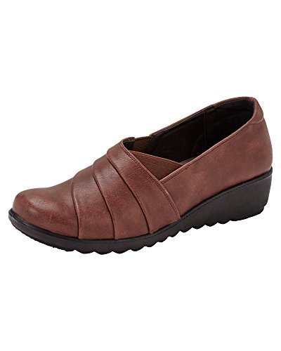 Cotton Traders Ladies Womens Cushion Support Flexisole Shoes Elasticated Gussets Tan bENkv