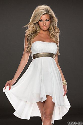 Ulike2 Women Nightclub Sexy Lace and Soft Chiffon Cocktail Strapless Party Dress Prom Evening Dress (XXL, White)