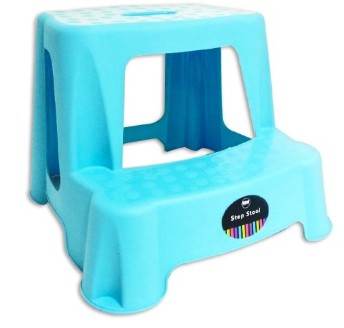 CHILDRENS KIDS 2 STEP UP STOOL TOILET POTTY TRAINING KITCHEN BATHROOM Blue By Impressions