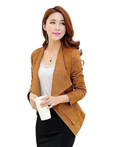 Aro Lora Women's Faux Suede Moto Jacket Zipper and Zip Front US 2-4 Yellow - Faux Suede Blazer