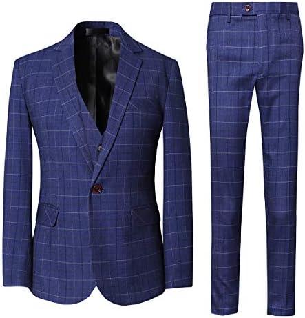 スーツ メンズ スリーピース チェック柄 1つボタン スリム M~5XL