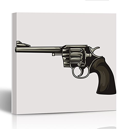 Emvency Painting Canvas Print Square 16x16 Inches White Arms Handgun Revolver and Military Army Automatic Caliber Control Firearm Wall Art Decoration Wrapped Wooden (Caliber Blank Gun)