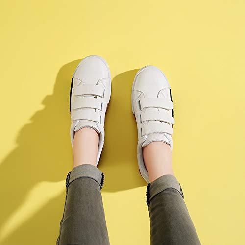buffoni scarpe white studente Moda scarpe in le di basse Alla magia da bianche scarpe adesivi AJUNR single donne le Donna autunno qRYHwH