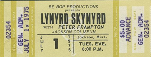 Lynyrd Skynyrd 1975 Unused Concert Ticket Peter Frampton Advanced