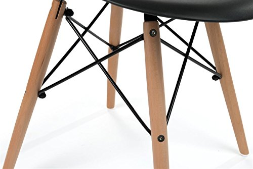 Displays2go, Modern Chairs, Metal, Plastic, and Wood Construction – Black, Natural Finish (FDC32WDBLK) by Displays2go (Image #3)