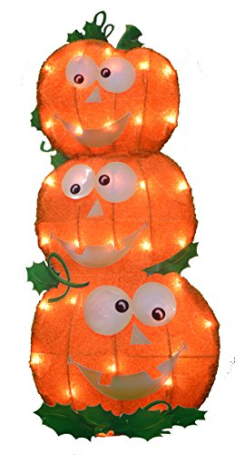 Product Works 24-Inch Pre-Lit 2D Victoria Hutto Pumpkin Stack Yard Decoration, 35 Lights