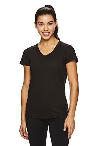 HEAD Women's V-Neck Short Sleeve Workout T Shirt - Performance Scoop Neck Activewear Top - Black Emily, Small