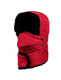 Baiyu Unisex Winter Trooper Hat Ear Flap Warm Bomber Hat Trapper Pilot Cap Ushanka Russian Style with Windproof Mask for Cycling Skiing Hiking Hunting Climbing Camping (Grey / Dark Blue / Red / Black)