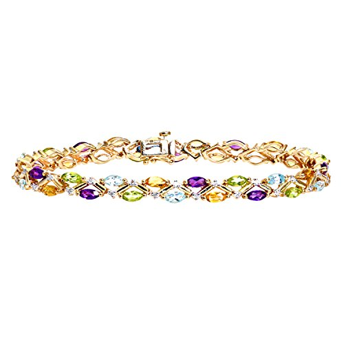 Revoni Bague en or jaune 9 carats Diamant Bracelet multicolore Gem 0,20 ct