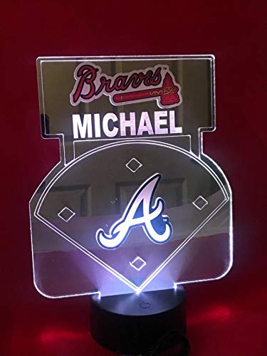 Atlanta Braves MLB Baseball Mirror Stadium Light Up Lamp LED Remote Personalized Table Lamp, Our Newest Feature - It's Wow, with Remote 16 Color Options, Dimmer, Free Engraved Great Gift