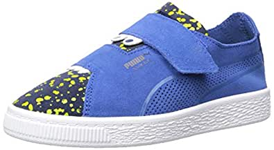 PUMA Boys' Suede Deconstruct Velcro Sneaker, surf The Web-Peacoat-Blazing Yellow, 12.5 M US Little Kid