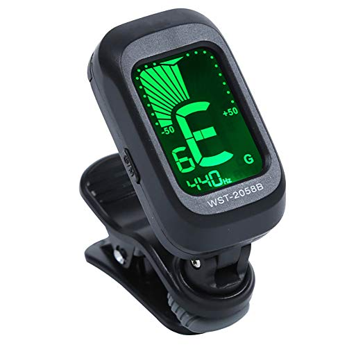 hAohAnwuyg Guitar Tuner,Musical Instruments,Clip-on LCD Acoustic Electric Guitar Violin Ukulele Chromatic Tuner Corrector - Black