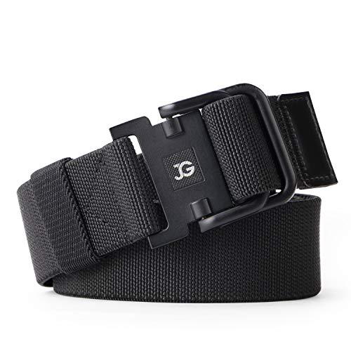 - JASGOOD Men's Elastic Stretch Nylon web Jeans Belt Outdoor Casual Belt with Solid Adjustable Buckle