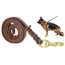 "Fairwin Braided Leather Dog Training Leash 6 Foot - Best Dog Leather Leashes No Pull for Large Small Dogs (3/4"" Width, Brown)"