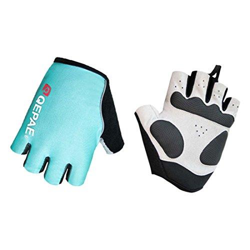 Lerway MTB Half Finger Fingerless Short Bicycle Bike Cycling Gloves (Light Blue, M)
