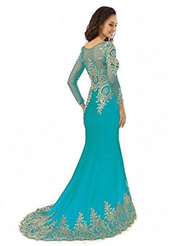 Applikationen Spitze Abendkleid Mieder Abendkleid Frauen nge Boden King's Love Langarm L Strass Kleid Meerjungfrau Sheer Perlen Blau gvPWw7q