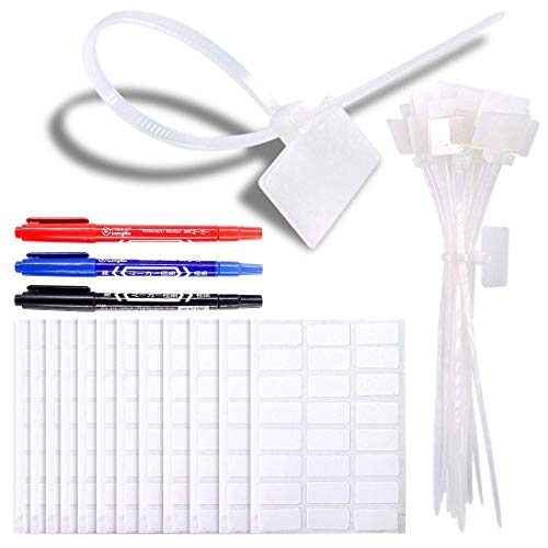 Glarks 200-Pieces 6 Inch Nylon Cable Marker Ties Self-locking Cord Tags Write on Ethernet Label Wire Straps with 3 Marker Pens and 288Pcs White Self-Adhesive Cable Labels for Home and Office Use