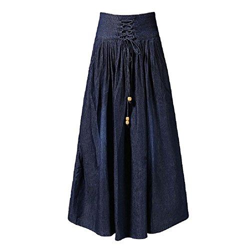 FuweiEncore Jupe en Denim pour Femmes A-Line Jupe Trapze lgante Jupe Plisse pour Femmes Taille Haute Jupe Longue en Denim Swing Bleu