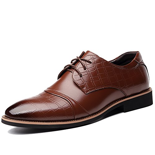 OUOUVALLEY Men's Dress Oxfords Leather Tuxedo Shoes0518 (US10.5(CN45=275CM), Brown)