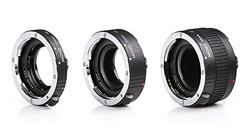 Movo MT-N68 3-Piece AF Chrome Macro Extension Tube Set for Nikon Mount DSLR Camera / Nikkor Lens System with 12mm, 20mm, & 36mm Tubes