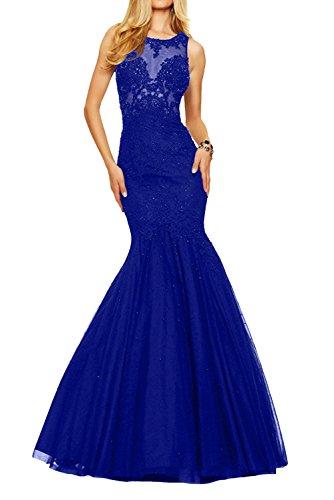 Damen Royal La Champagner Braut mit Promkleider Meerjungfrau Abendkleider Ballkleider Spitze Blau Langes Marie BBZwqfg