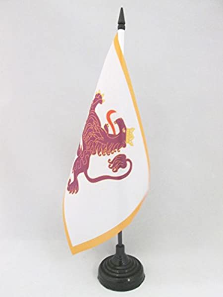 AZ FLAG Bandera de Mesa del Reino DE LE/ÓN 910-1230 21x14cm BANDERINA de DESPACHO DE Leon 14 x 21 cm
