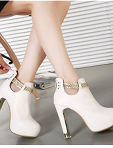 Negro Blanco Semicuero Xzz Zapatos Cn39 Eu39 Casual Puntiagudos Botas Uk6 Stiletto Mujer Tacón De White us8 1zq81Rwp