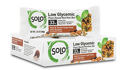 SoLo Gi Nuts and Seeds Superfood Bar - Gluten Free, Low Glycemic with 10 grams of Protein, 1.41oz (40g) (1 Box of 6 Bars)