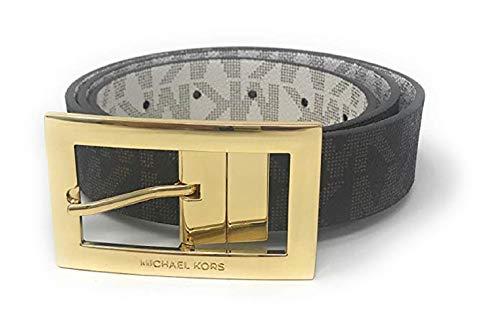 Michael Kors Women's Rectangle Buckle Reversible Brown To Vanilla Logo Belt (L) ()