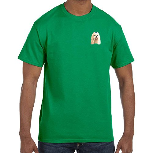 Cherrybrook Dog Breed Embroidered Mens T-Shirts - X-Large - Irish Green - Maltese