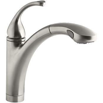 KOHLER K-13963-VS Elate Pullout Kitchen Faucet, Vibrant Stainless ...