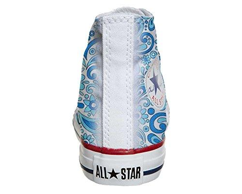 Converse All Star Hi Personnalisé et Imprimés chaussures coutume, Sneaker Unisex (produit Italien artisanal) Happy Paisley