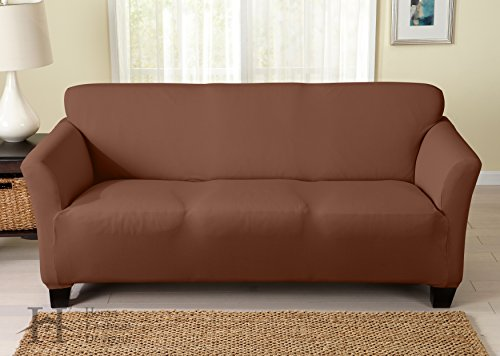 UPC 888583013705, Dawson Collection Basic Strapless Slipcover. Form Fit, Slip Resistant, Stylish Furniture Shield / Protector Featuring Lightweight Twill Fabric. By Home Fashion Designs Brand. (Sofa, Toffee)