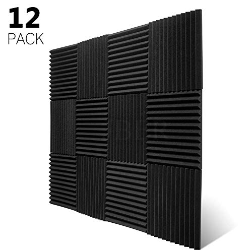 "JBER 12 Pack Charcoal Acoustic Panels Studio Foam Wedges Fireproof Soundproof Padding Wall Panels 1"" X 12"" X 12"""