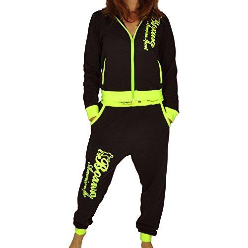 CBKTTRADE Boxusa Damen Jogginganzug Freizeitanzug Fitness Club Design oder Hoodie wählbar (L, Boxusa Schwarz Gelb)