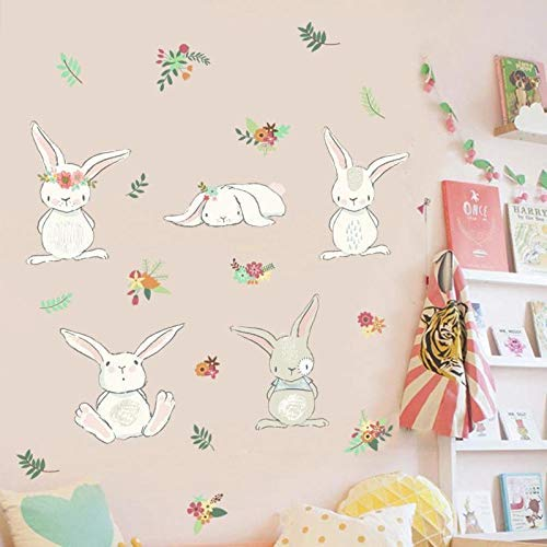 Cute Cartoon Rabbit Wall Stickers Animal Children Baby Nursery Home Decoration L20 - Wall Stickers