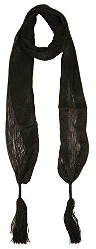 Black Hair Belt (Love Lakeside-Women's Long, Skinny Scarf for Neck, Belt, Sparkle, Bow (One, Black)