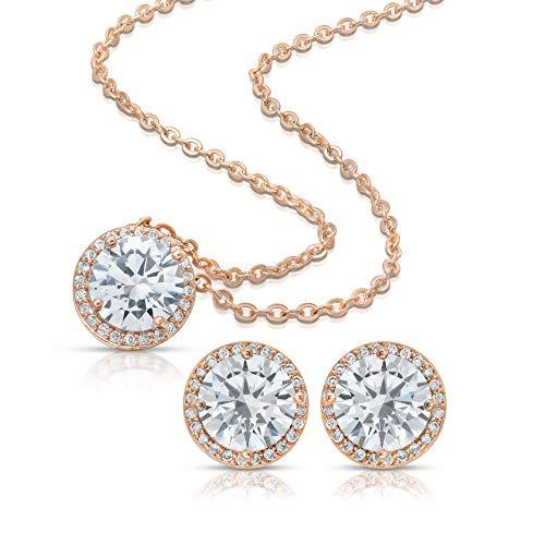 - BRIDE DAZZLE Bridesmaid Gifts - Pretty Halo Cubic-Zirconia Necklace & Earrings Set (18