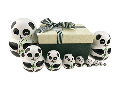 Apol Set of 10 Big-Belly Wooden Handmade Panda Bear With Bamboo Nesting Dolls Matryoshka Russian Doll in a Exquisite Gift Box With Bow For Kids Toy Home Decoration New Year Christmas Gift ()